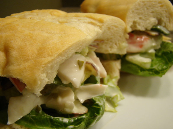 hoagie with fresh bread and vegetables